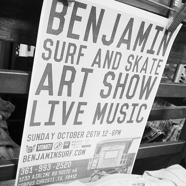 Friendly Reminder! ART SHOW THIS SUNDAY! Happening at our Airline Rd location noon to 6pm. Come join us for a variety of arts, music and food! #freeevent #benjaminscc #corpuschristi #artshow #corpuschristi #cctx #skateboarding #surfing #art #benjaminsurfnskate